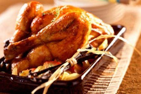 Poulet roti au miel  et à la vanille de Tahiti