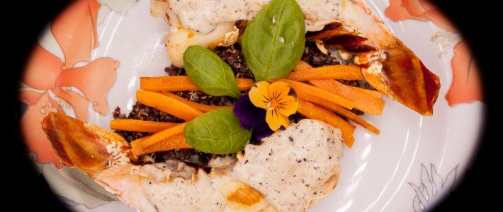 Queue de langouste crème de Whisky à la Vanille de Tahaa sur lit de quinoa